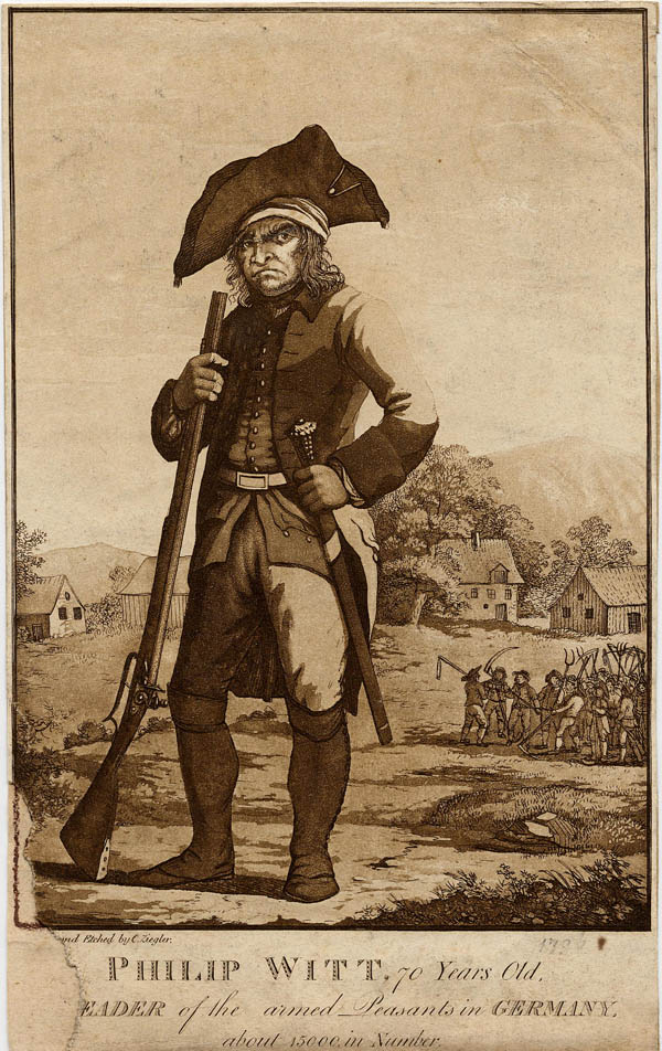 afbeelding van gravure Philip Witt, 70 years old, leader of the armed Peasants in Germany van C. Ziegler