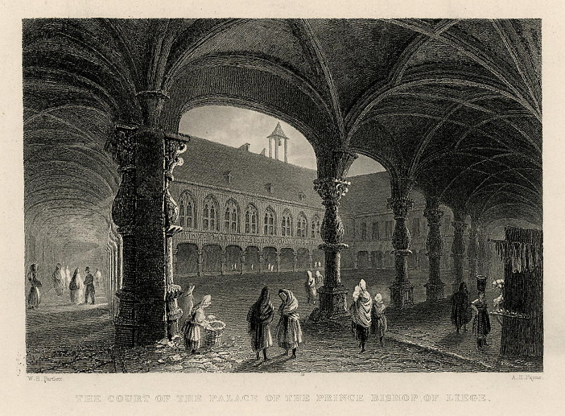 afbeelding van gezicht The court of the palace of the Prince Bishop of Liege van A.H. Payne naarW.H. Bartlett (Luik)
