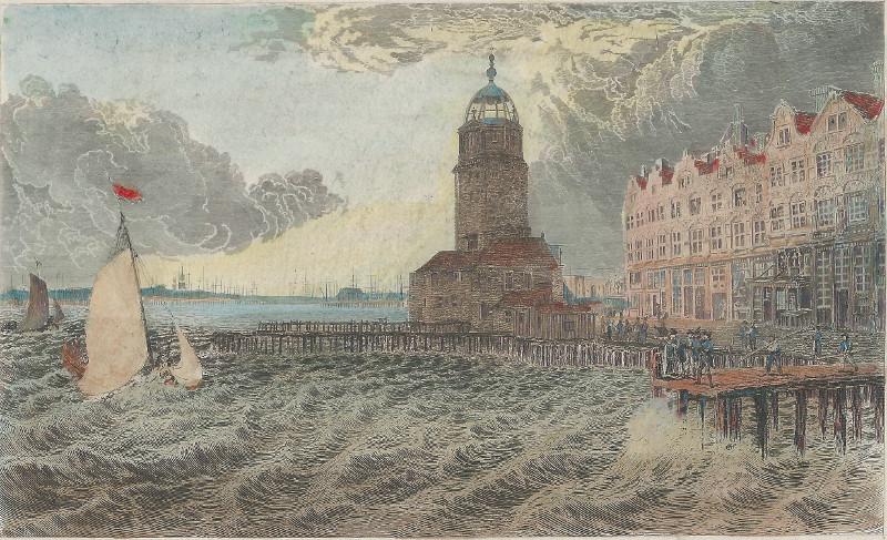 afbeelding van prent The Herring Tower, Amsterdam van Captain R. Batty, E. Goodall (Amsterdam)